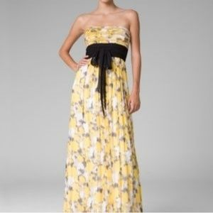 BCBG Silk Floral Strapless Dress